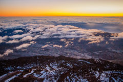 The sunrise at the top of highest mountain of Spain. Canary Islands stock photo