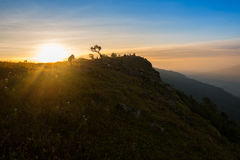 Sunrise top hill Stock Photography