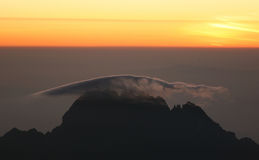Sunrise from top of Kilimanjaro. (5.895 m) - highest mountain in Africa. Tanzania Royalty Free Stock Image