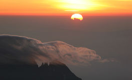 Sunrise from top of Kilimanjaro. (5.895 m) - highest mountain in Africa. Tanzania Royalty Free Stock Photography