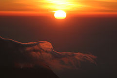 Sunrise from top of Kilimanjaro. (5.895 m) - highest mountain in Africa. Tanzania Stock Photography