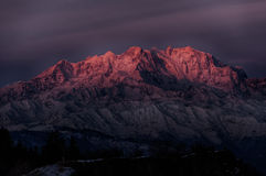 Sunrise on the top of Monte Rosa Royalty Free Stock Photo