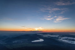 Sunrise from top of Mount Fuji. The Highest Mountain in Japan royalty free stock image