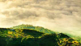 Sunrise on the top of mountain Batur volcano / bali, Indonesia Royalty Free Stock Images