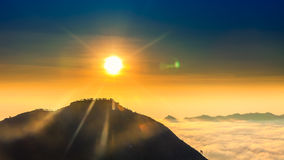 Sunrise on the top of mountain Batur volcano / bali, Indonesia Royalty Free Stock Image