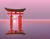 Sunrise at Torii gates Stock Images