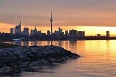 Sunrise Toronto Skyline and Sheldon Lookout Stock Photo