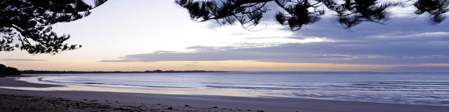 Sunrise at Torquay panorama Stock Photography