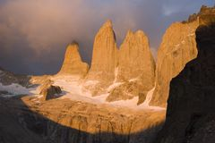 Sunrise in the Torres del paine national park Royalty Free Stock Photos