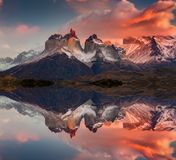Sunrise in Torres del Paine National Park, Lake Pehoe and Cuernos mountains, Patagonia, Chile.  stock image