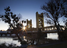 Sunrise River Bridge City Sun Flare Sacramento Stock Photography