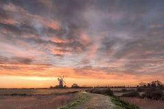 Sunrise at Tower Windmill  Norfolk Stock Photos