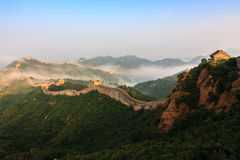 Great Wall. Jinshanling is the most majestic section of the Great Wall,Sunrise towering majesty of the Great Wall in the sun stock image