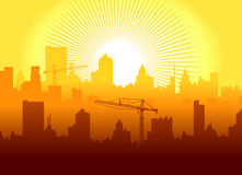 Sunrise in town. Vector illustratşon of sunrise in town Royalty Free Stock Images