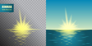 Sunrise transparent effect. Summer holidays vector background.  blue sky and sea Abstract blurry background with overlying semi tr Royalty Free Stock Photography