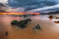 Sunrise at Trengandin beach in Noja. Cantabria Royalty Free Stock Images