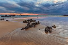 Sunrise at Trengandin beach in Noja. Cantabria Stock Photography