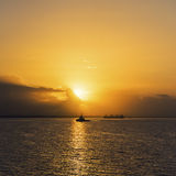 Sunrise in Trinidad and Tobago sea square composition Stock Photography