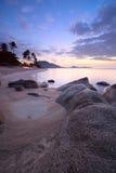 Sunrise at tropical beach Stock Photo