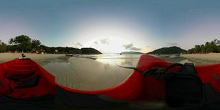 Sunrise on a tropical beach in 360 VR. 360 degrees panorama of the sunrise on a tropical beach 360VR Virtual Reality Shoot stock video footage