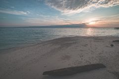 Sunrise on tropical beach, wide angle view in backlight from the coral sandy beach with tree trunk, toned image. Stock Images