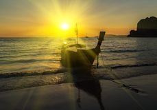 Sunrise Tropical Fishing boat. Silhouette Sunrise Tropical Fishing boat seascape stock photos
