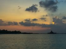 Sunrise on the tropical island. Beach sunrise on the Maldivian resort Stock Photo