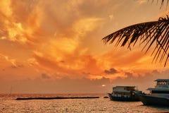 Sunrise on a tropical island in the Indian Ocean. Stock Photos