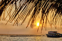 Sunrise on a tropical island in the Indian Ocean. Stock Images