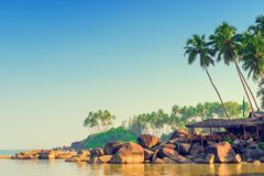 Sunrise on a tropical island in the tourism season. Tinted Royalty Free Stock Images