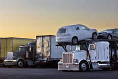 Sunrise Truck Transporter Stock Images