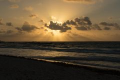 Sunrise in Tulum beach Stock Photos