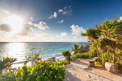 Sunrise on Tulum coast, Mexico. Royalty Free Stock Photography