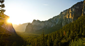 Sunrise at Tunnel View in Yosemite National Park Royalty Free Stock Photo