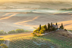 Sunrise in tuscan countryside, Italy Royalty Free Stock Photography