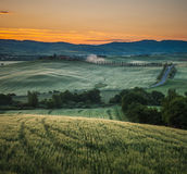 Sunrise in tuscany, typical tuscan landscape Royalty Free Stock Images