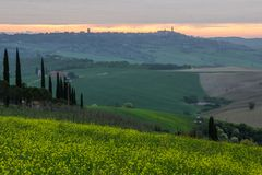 Sunrise in Tuscany in Val di Orcia near Pienza Stock Photography