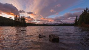 Sunrise at two jack lake in the Canadian Rockies.  royalty free stock image