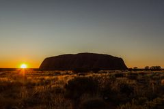 Sunrise at Uluru, ayers Rock, the Red Center of Australia, Australia royalty free stock photos