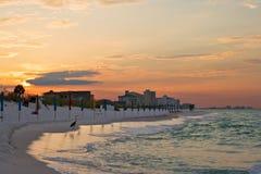 Sunrise under atlantic ocean coast. Beach of Destin, Florida, USA Stock Images