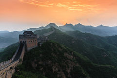 Sunrise under the majesty of the Great Wall Royalty Free Stock Photos