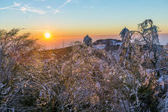 Sunrise under the winter calm mountain landscape with beautiful Stock Image