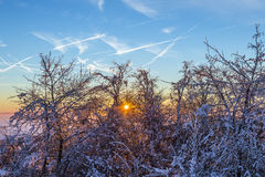 Sunrise under the winter calm mountain landscape with beautiful Royalty Free Stock Photo
