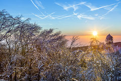 Sunrise under the winter calm mountain landscape with beautiful Stock Photos