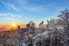 Sunrise under the winter calm mountain landscape with beautiful Royalty Free Stock Images
