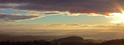 Sunrise in Upper Austria. With Lens Flare Effects Royalty Free Stock Photography