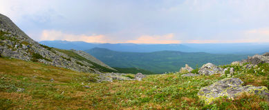 Sunrise in the Ural mountains Royalty Free Stock Photo