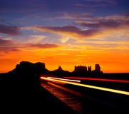 Sunrise on US 163 Scenic road to Monument Valley Park Stock Photography
