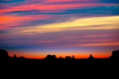 Sunrise on US 163 Scenic road to Monument Valley Park Stock Image