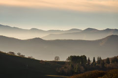 Sunrise in the Valley of the Blue Ridge Mountains. Of North Carolina. Horses and cows graze in the valley along the Ridge lines, and the bare trees indicate Royalty Free Stock Photography